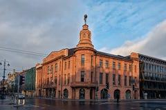 立陶宛 维尔纽斯老街道  新年度在维尔纽斯 2017年12月31日 库存图片