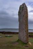 竖石纪念碑特写镜头在Brodgar新石器时代的石圈子圆环的  免版税库存图片