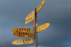 竖立路标指向方式和距离到主要世界城市 免版税库存图片
