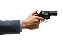 竖起左轮手枪枪的男性手 免版税库存图片