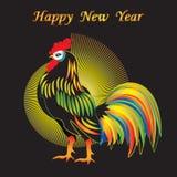 竖起明亮的五颜六色的题字新年快乐抽象派创造性的现代传染媒介例证黑色背景 免版税库存图片