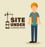 站点建设中人工作制服 免版税库存图片