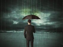 站立与伞数据保护概念的商人 库存照片