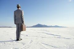 站立与公文包的旅行的商人 免版税库存照片