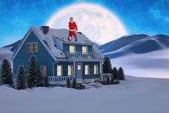 站立与吉他的微笑的圣诞老人的综合图象 免版税库存图片