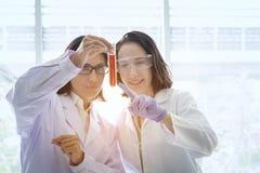 站立与在试验室工怍人员做的techer的年轻女性科学家 免版税库存图片