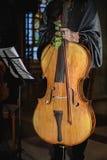 站立与大提琴的妇女大提琴手 免版税库存图片