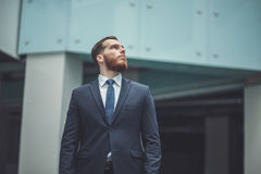 站立与有雇员的横渡的胳膊的成功的小企业主后台处理确信的商人画象的 免版税库存图片