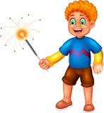 站立与笑和戏剧烟花的逗人喜爱的男孩动画片 库存例证