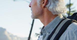 站立与背包的老人在乡下4k 影视素材