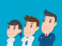 站立与胳膊一起的年轻商人企业队横渡 免版税库存照片