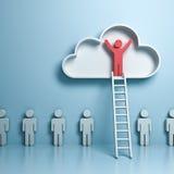 站立与胳膊的一个人大开在与梯子的云彩在其他人民上 皇族释放例证