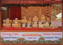 站立与许多类乳酪在圣诞节 图库摄影