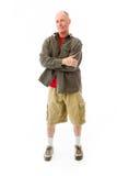站立与他的胳膊的一名老人的画象横渡 图库摄影