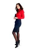 站立与组织者日志的俏丽的女实业家 图库摄影