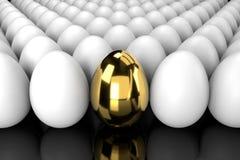 站立从与反射的人群的金黄鸡蛋 向量例证