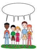 站立例证例证动画片例证的动画片年轻男孩女孩孩子 库存照片