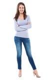 站立反对白色背景的妇女 免版税图库摄影