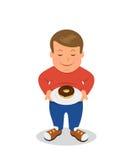站立和拿着有油炸圈饼的肥胖男孩一块板材 肥胖哀伤的男性角色在白色背景被隔绝 库存例证