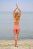 站立和看海的比基尼泳装的美丽的女孩 免版税库存图片