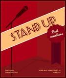 站立喜剧事件海报 与话筒黑剪影的减速火箭的样式传染媒介例证,证章最佳的喜剧演员和文本 免版税库存照片
