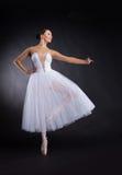 站立在一只脚的美丽的跳芭蕾舞者。 库存图片