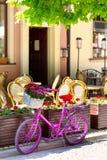 站立在一条老街道上的桃红色自行车 免版税库存图片