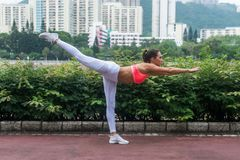 站立在一条腿的专业女运动员实践的瑜伽水平的平衡的棍子姿势保持平衡  库存图片