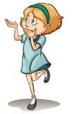 站立在一条腿的女孩 免版税库存照片