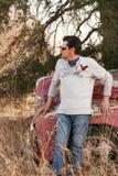 英俊的人和卡车 库存照片
