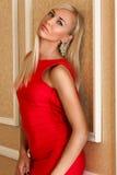 站立在一件红色礼服的妇女 库存图片