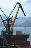 站立在不冻港港的码头的巨大的散装货轮靛蓝SW的弓  东部(日本)海 24 04 2015年 免版税库存照片