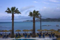 站立在与海滩胜地的一个游泳池前的两棵棕榈树 这个地方有许多椅子被安排在的伞下 免版税图库摄影