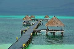 站立在与附属的海滩棚子的绿色鲜绿色水中的海洋码头 图库摄影