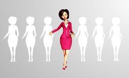 站立在人群外面的确信的3D数字式女实业家 免版税库存图片