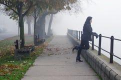 站立在人行道观看的秋天薄雾的美丽的女孩 库存照片