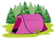 站立在具球果森林背景的一块沼地的桃红色野营的帐篷  免版税库存照片