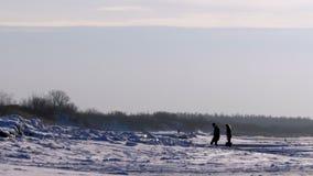 站立在冬天海的银行的年轻夫妇 股票视频