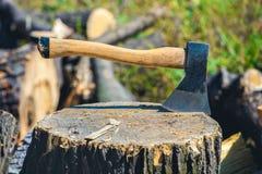 站立在切好的木头一个木,破裂的树桩的老,被佩带的,被抓的,锋利的轴  免版税库存照片