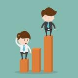 站立在利润图表的商人 向量例证