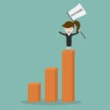 站立在利润图表的女实业家 向量例证
