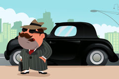站立在前面他的汽车的人 免版税图库摄影