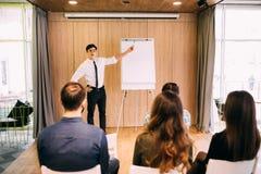 站立在办公室计划在flipchart的网站布局的网设计师 免版税库存照片