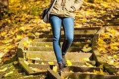 站立在台阶的妇女在秋天公园 免版税库存图片