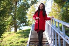 站立在台阶的红色外套的美丽的亚裔妇女 库存图片