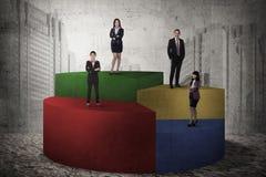 站立在圆形统计图表的亚洲企业队 库存图片