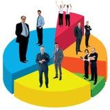 站立在圆形统计图表的另外人民 免版税库存图片