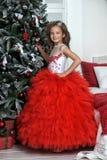 站立在圣诞树附近的红色和白色礼服的公主 免版税库存照片
