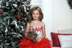 站立在圣诞树附近的红色和白色礼服的公主 库存照片