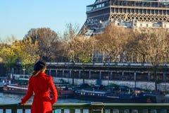 站立在堤防的妇女在埃佛尔铁塔附近在巴黎,法国 图库摄影